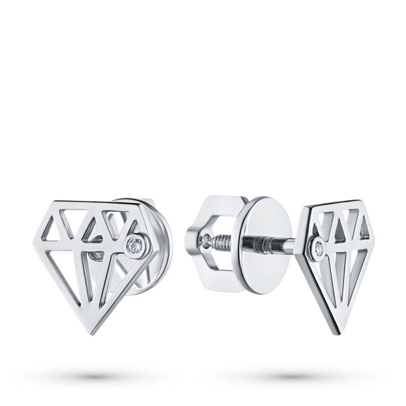 Пусеты из серебра с бриллиантом э0601пс07172100