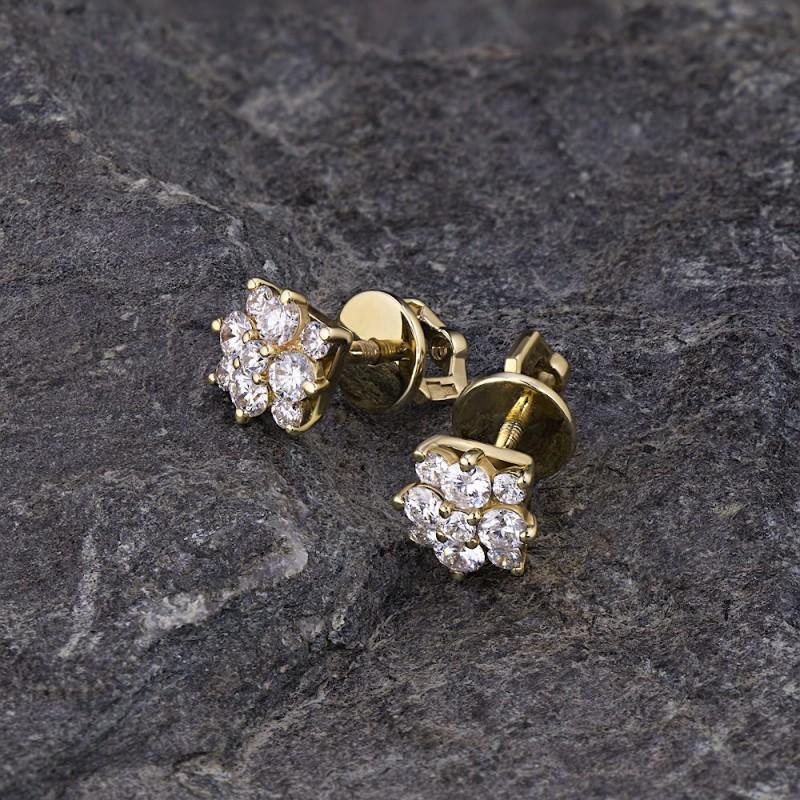 Пусеты из желтого золота с бриллиантами э0301пс09164200 (фото 4)