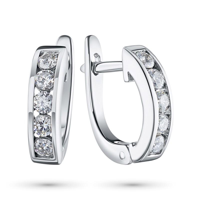 Серьги из белого золота с бриллиантом э0901сг05102300