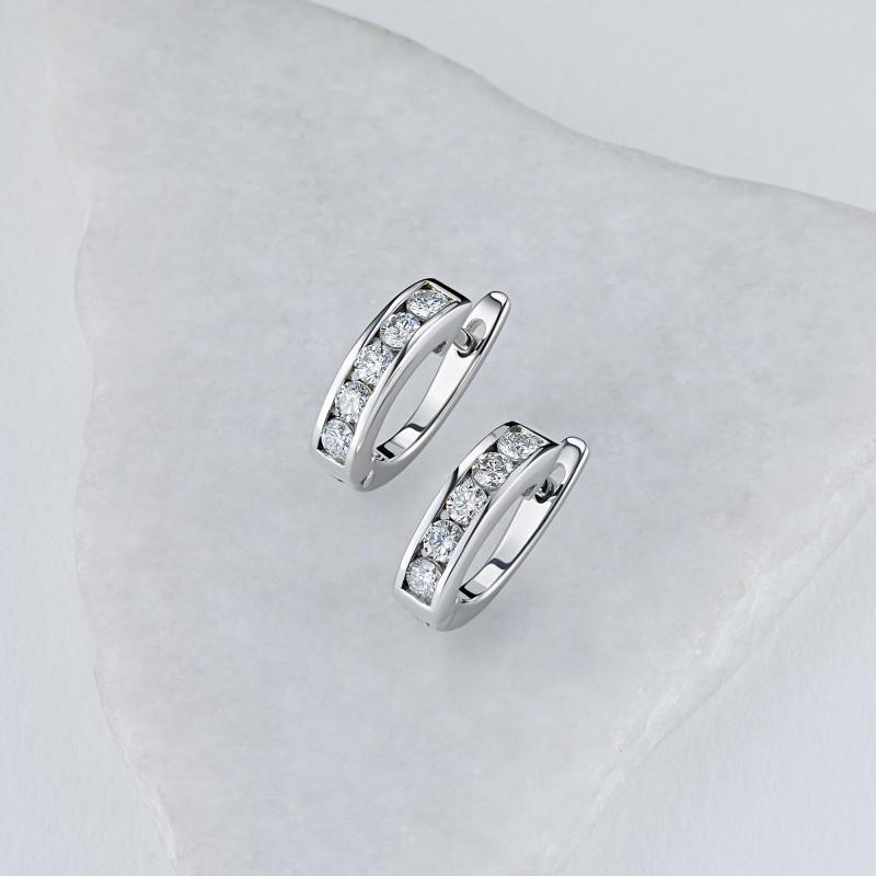 Серьги из белого золота с бриллиантом э0901сг05102300 (фото 4)