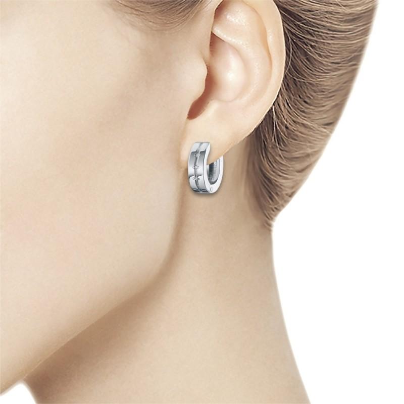 Серьги из серебра с бриллиантом э0601сг03152900 (фото 2)