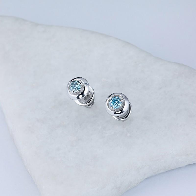 Пусеты из серебра э0612пс10090300_blue (фото 4)
