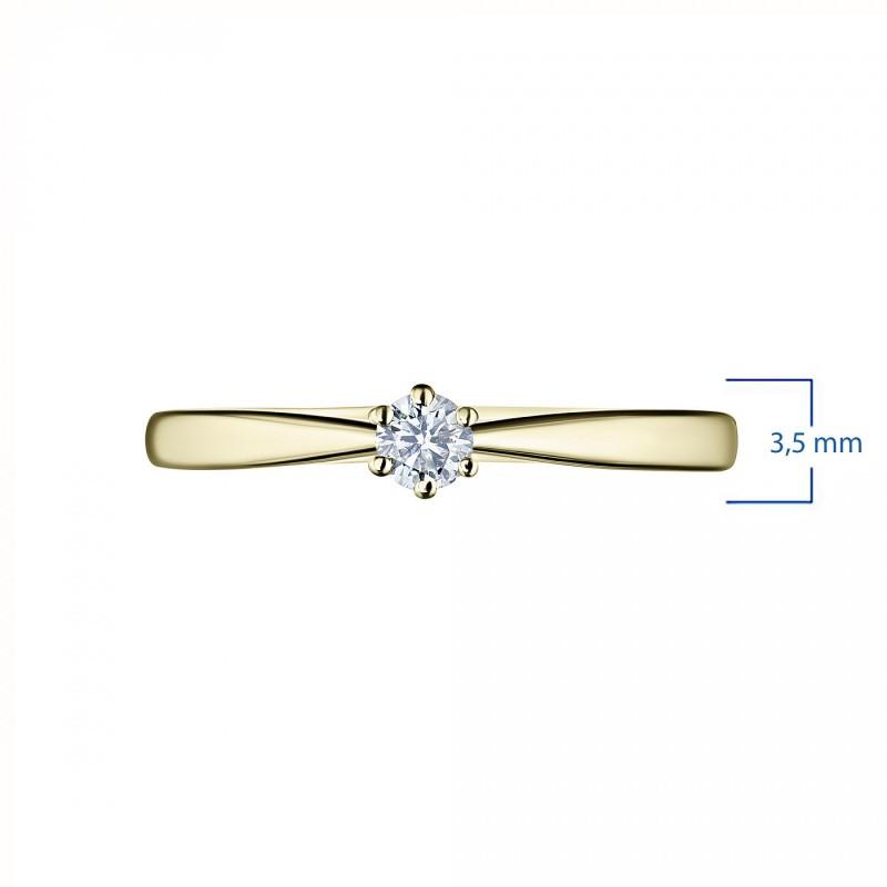Кольцо из желтого золота с бриллиантом э0301кц12154500 (фото 3)