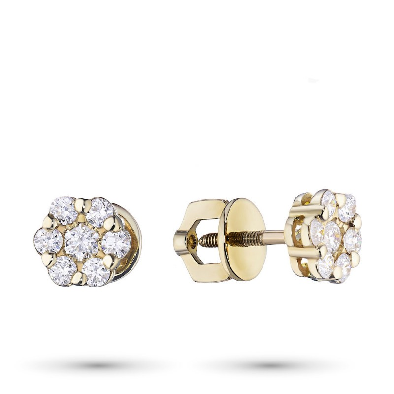 Пусеты из желтого золота с бриллиантами э0301пс11141800