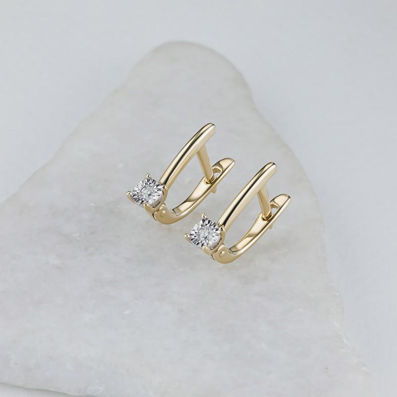 Серьги из комбинированного золота с бриллиантом э1001сг06200101 (фото 4)