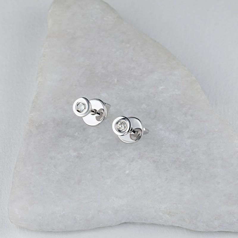 Пусеты из серебра с бриллиантом э0601пс12151100 (фото 4)