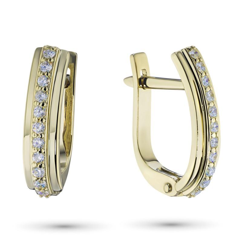 Серьги из желтого золота с бриллиантом э0301сг10148800