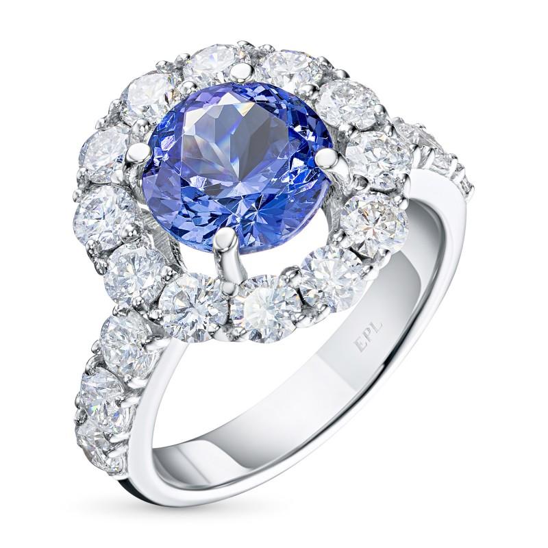 Кольцо из белого золота с танзанитом и бриллиантом э0942кц09200473