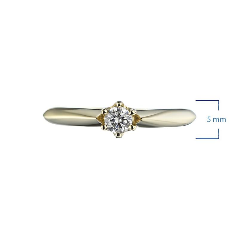 Кольцо из желтого золота с бриллиантом э0301кц05153100 (фото 2)