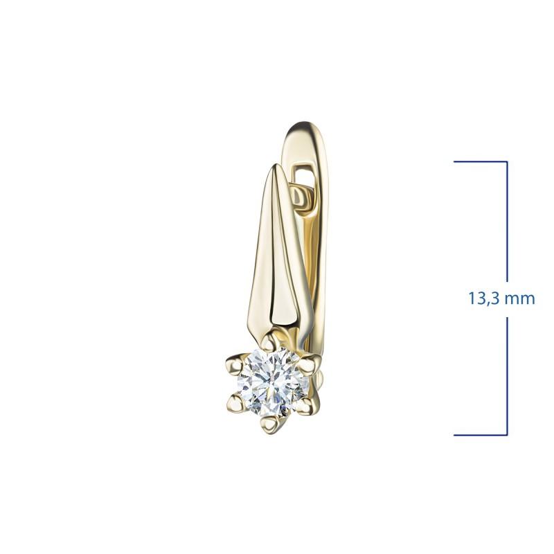 Серьги из желтого золота с бриллиантом э0301сг04210204 (фото 3)