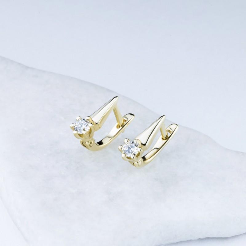 Серьги из желтого золота с бриллиантом э0301сг04210204 (фото 4)