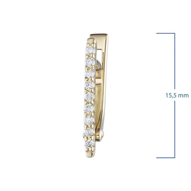 Серьги из желтого золота с бриллиантом э0301сг08200108 (фото 3)