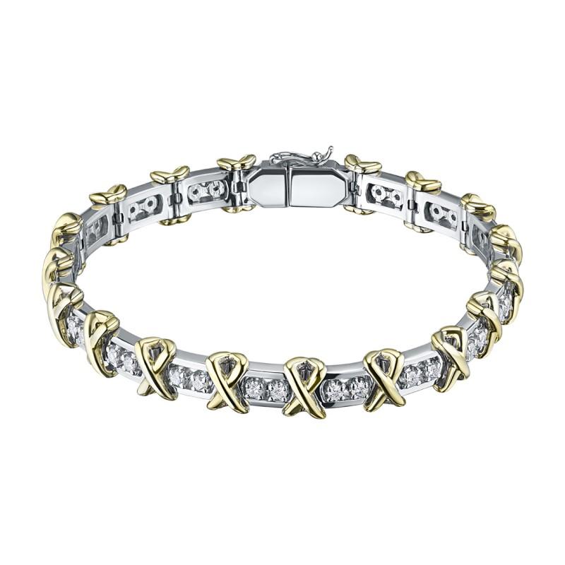 Браслет из комбинированного золота с бриллиантами э1001бр10162700