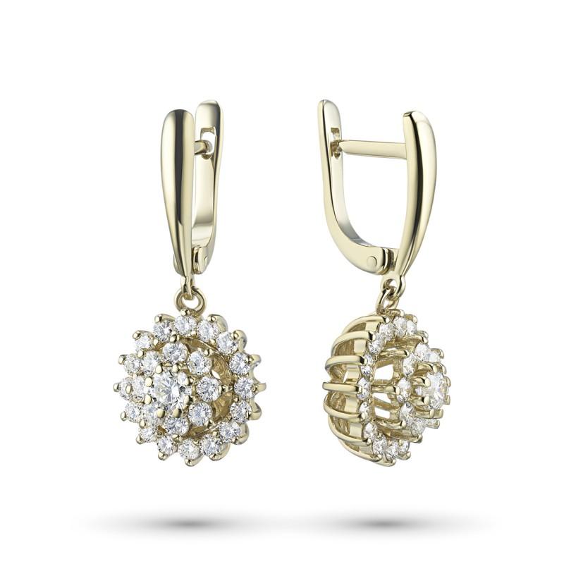 Серьги из желтого золота с бриллиантами э0301сг07163600