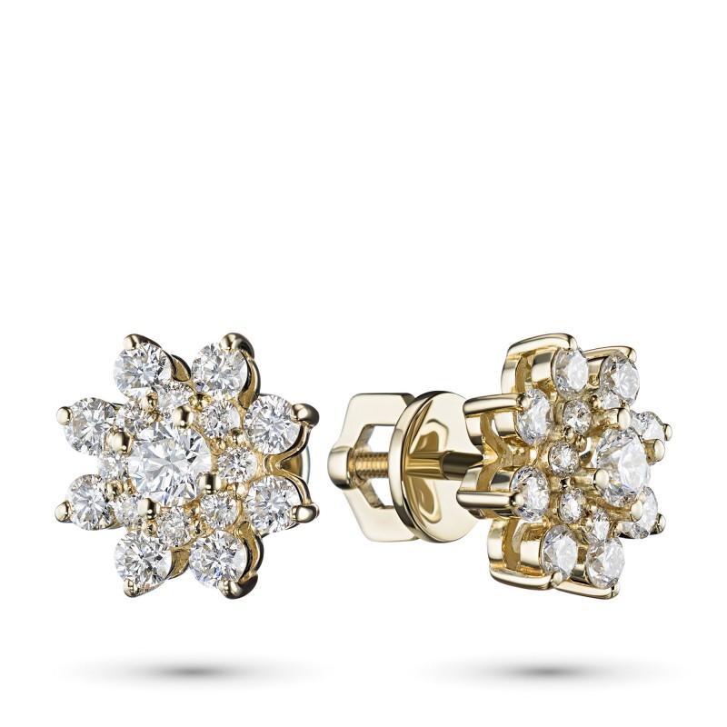 Пусеты из желтого золота с бриллиантами э0301пс07190500