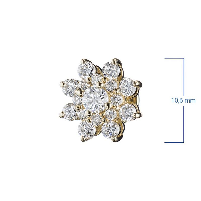 Пусеты из желтого золота с бриллиантами э0301пс07190500 (фото 3)