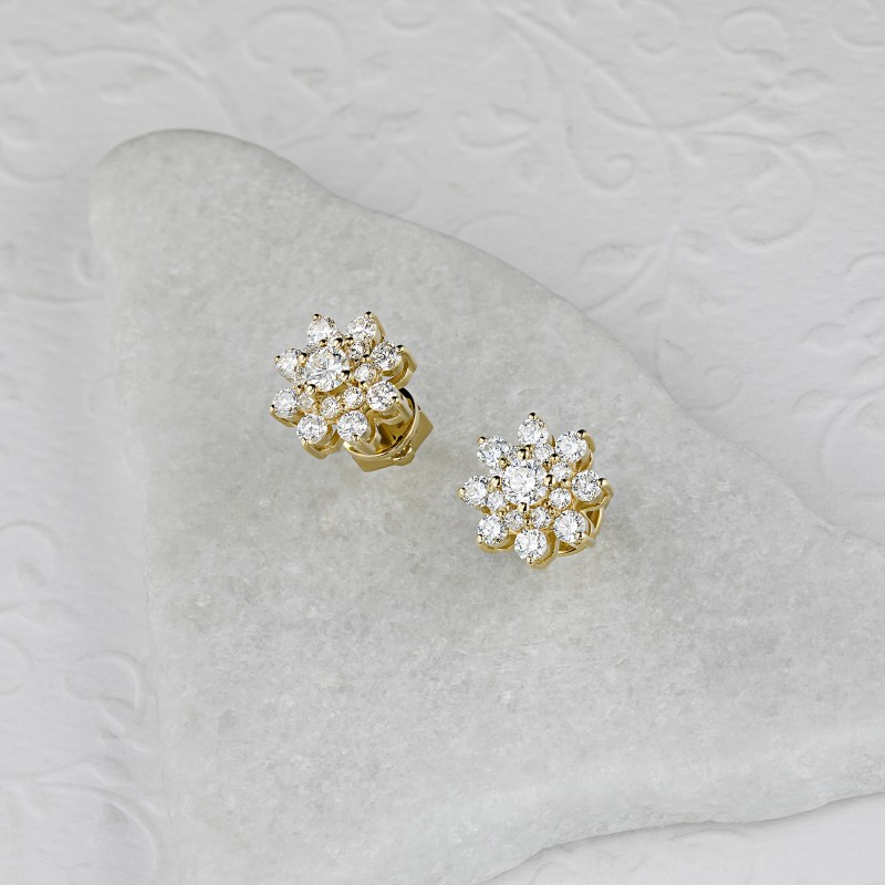 Пусеты из желтого золота с бриллиантами э0301пс07190500 (фото 4)