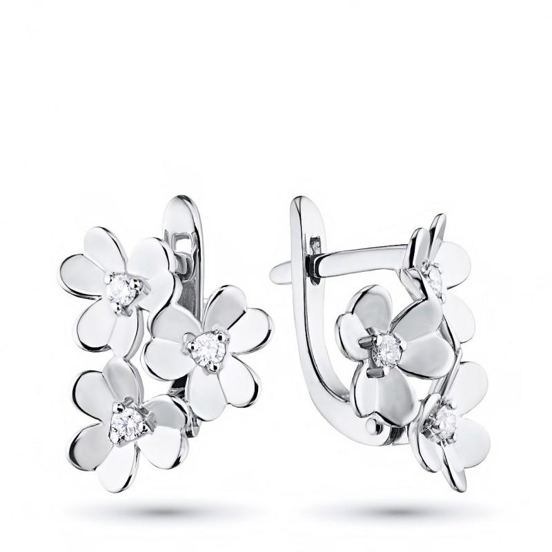 Серьги из серебра с бриллиантом э0601сг03185300