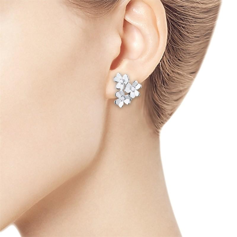 Серьги из серебра с бриллиантом э0601сг03185300 (фото 2)