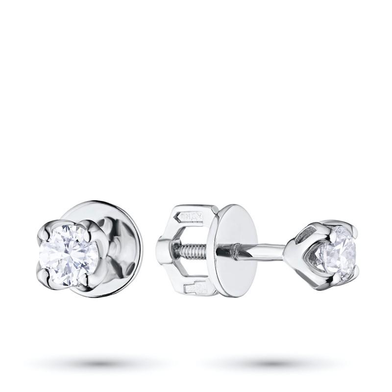 Пусеты из белого золота с бриллиантом э0901пс01163100
