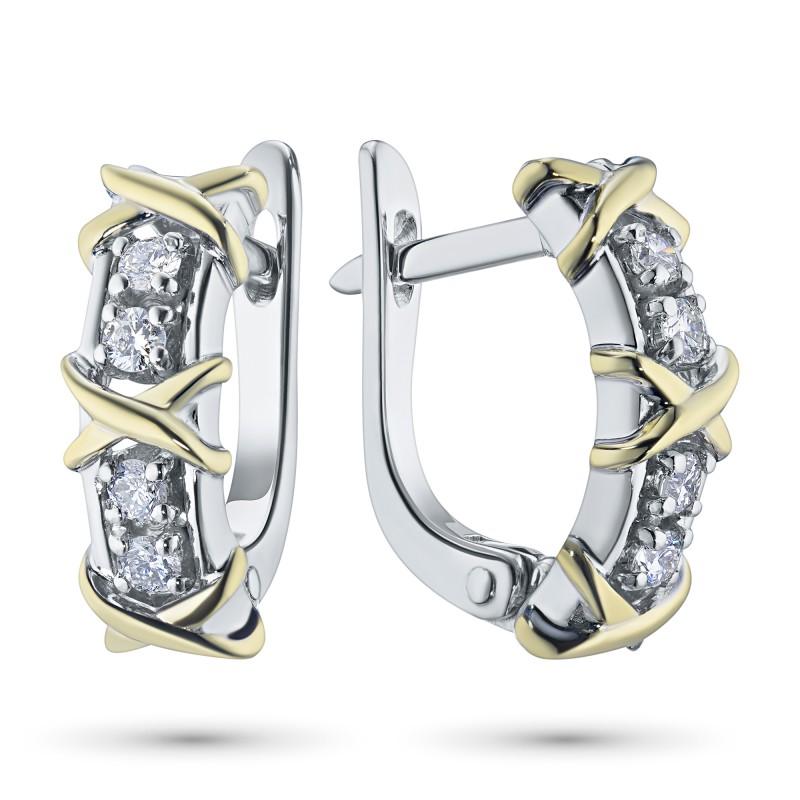 Серьги из комбинированного золота с бриллиантом э1001сг10184100