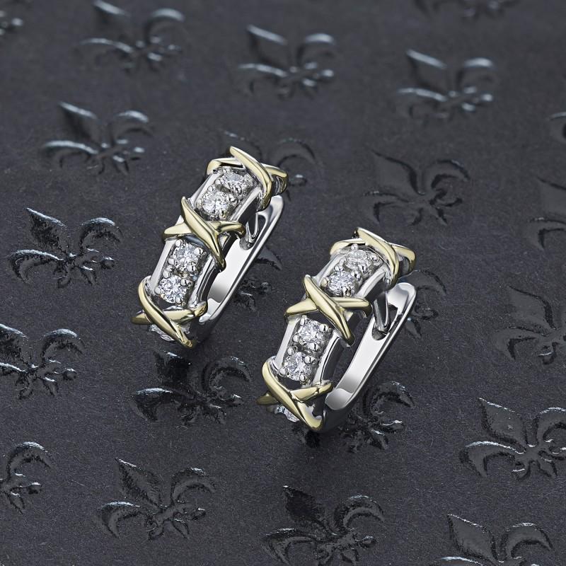 Серьги из комбинированного золота с бриллиантом э1001сг10184100 (фото 4)
