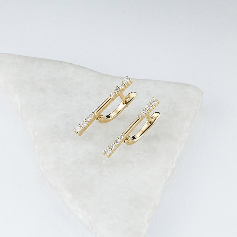 Серьги из желтого золота с бриллиантами э0301сг12200018 (фото 4)
