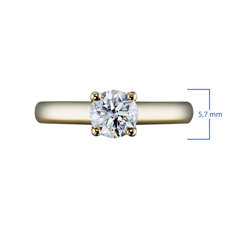 Кольцо из желтого золота с бриллиантом э0301кц11102400 (фото 3)