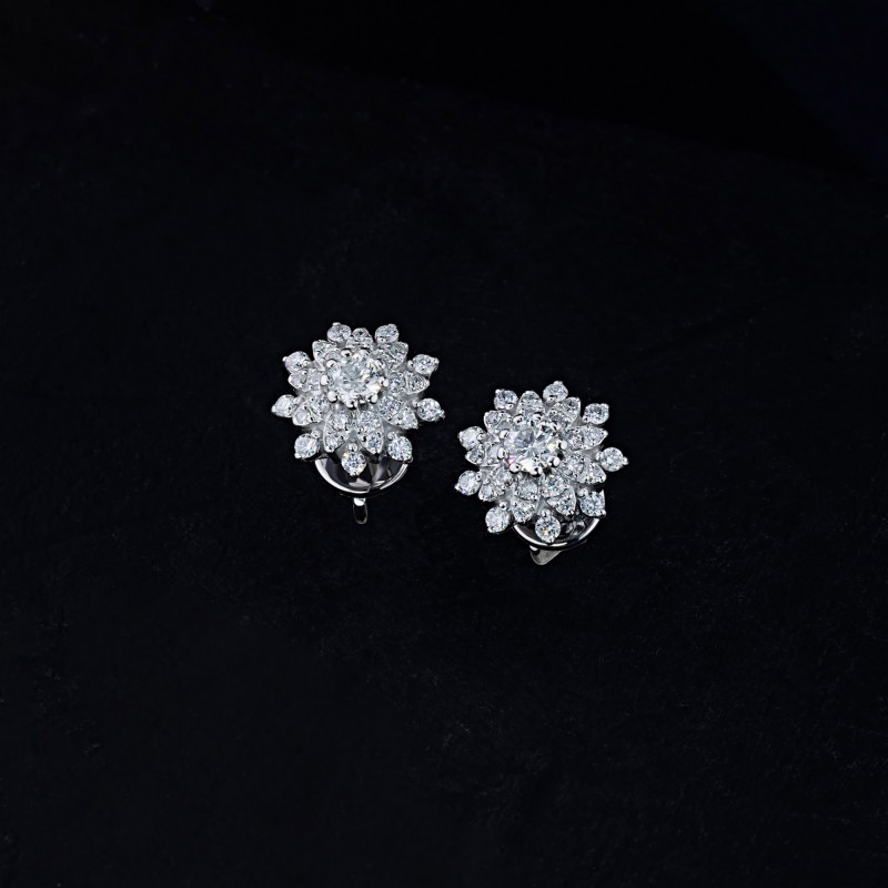 Пусеты из белого золота с бриллиантами э0901пс03196300 (фото 4)