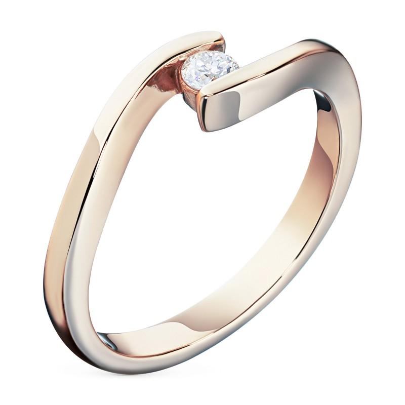 Кольцо из красного золота с бриллиантом э0201кц01161100