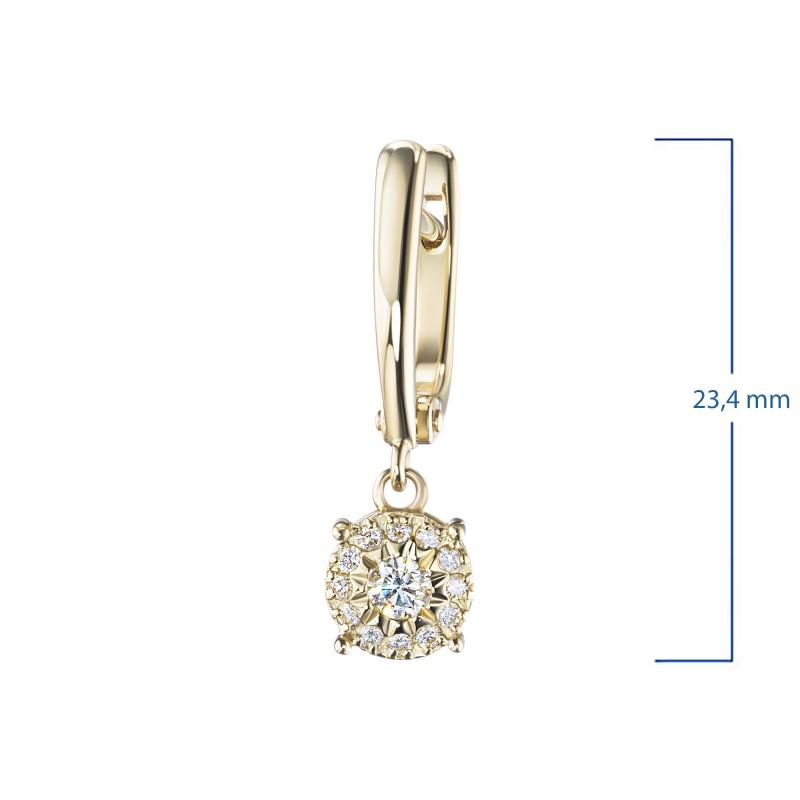 Серьги из желтого золота с бриллиантами э0301сг10200661 (фото 3)