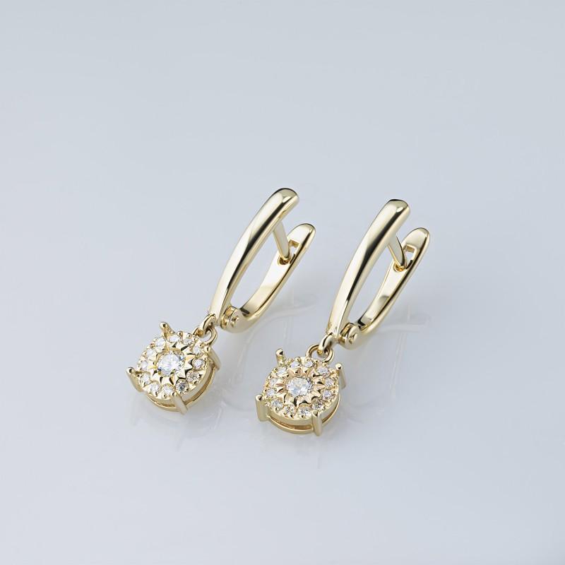 Серьги из желтого золота с бриллиантами э0301сг10200661 (фото 4)