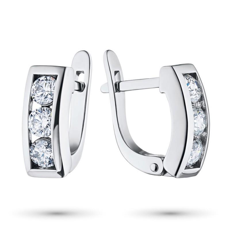 Серьги из белого золота с бриллиантом э0901сг01120300