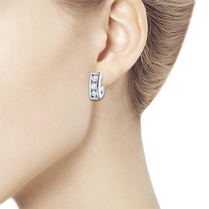 Серьги из белого золота с бриллиантом э0901сг01120300 (фото 2)