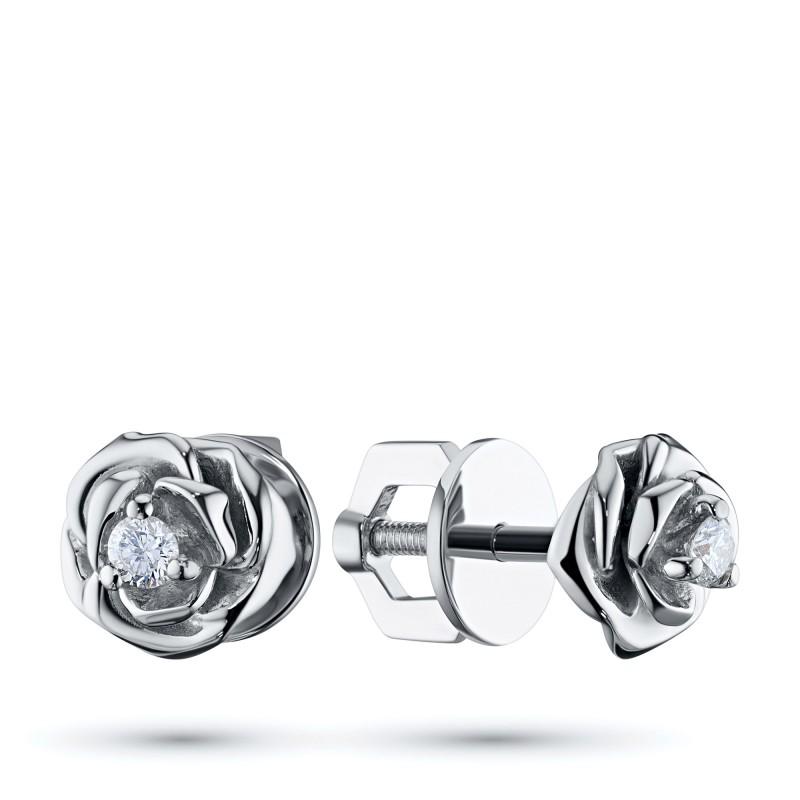 Пусеты из серебра с бриллиантом э0601пс09170600