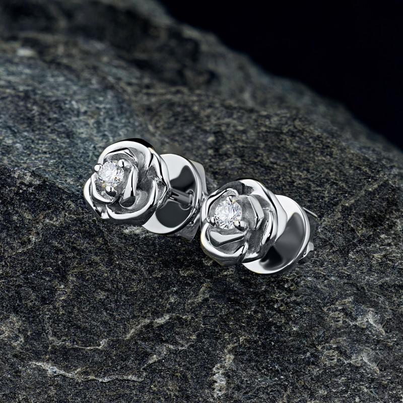 Пусеты из серебра с бриллиантом э0601пс09170600 (фото 4)