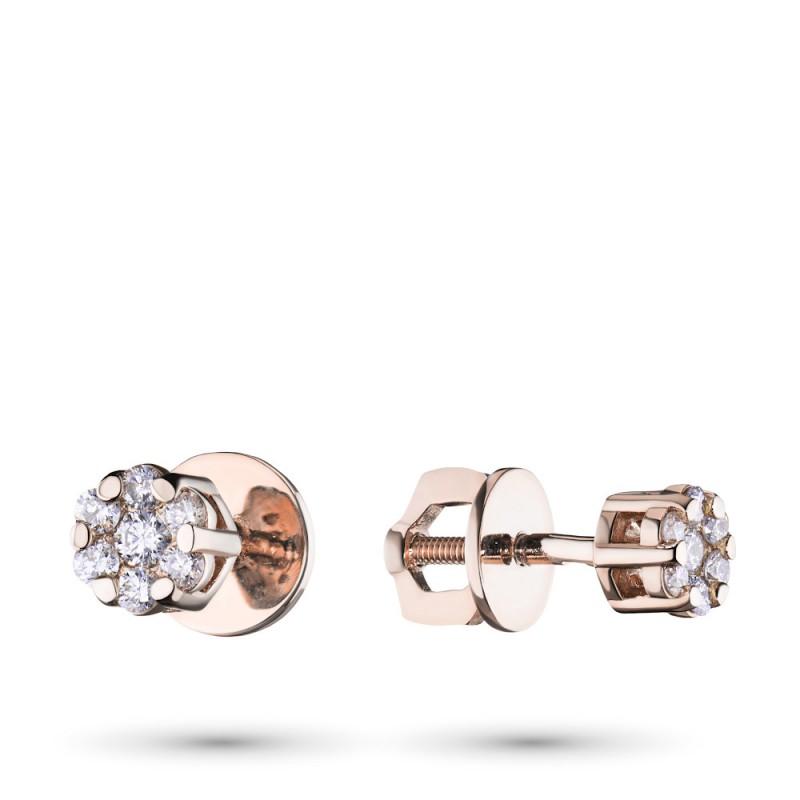 Пусеты из красного золота с бриллиантами э0201пс10134800