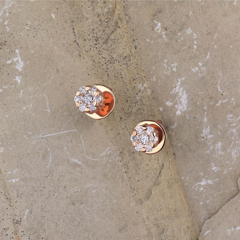 Пусеты из красного золота с бриллиантами э0201пс10134800 (фото 4)