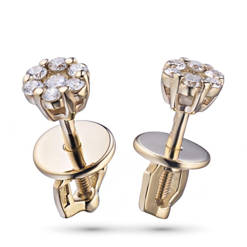 Пусеты из красного золота с бриллиантами э0201пс04152800