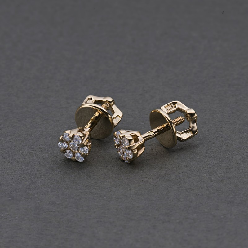 Пусеты из красного золота с бриллиантами э0201пс04152800 (фото 4)
