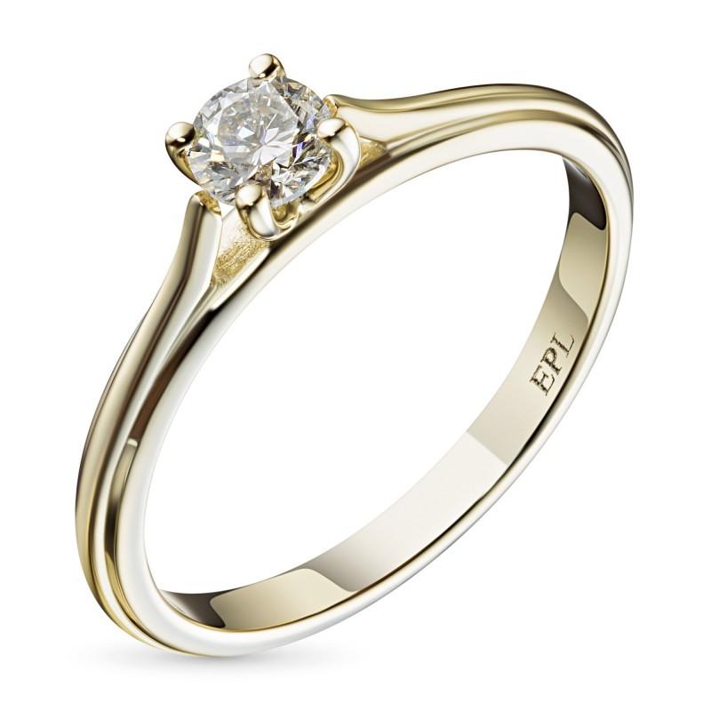 Кольцо из желтого золота с бриллиантом э0301кц07200753