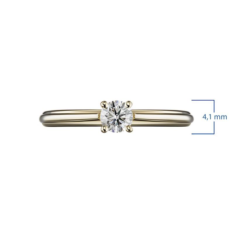 Кольцо из желтого золота с бриллиантом э0301кц07200753 (фото 3)