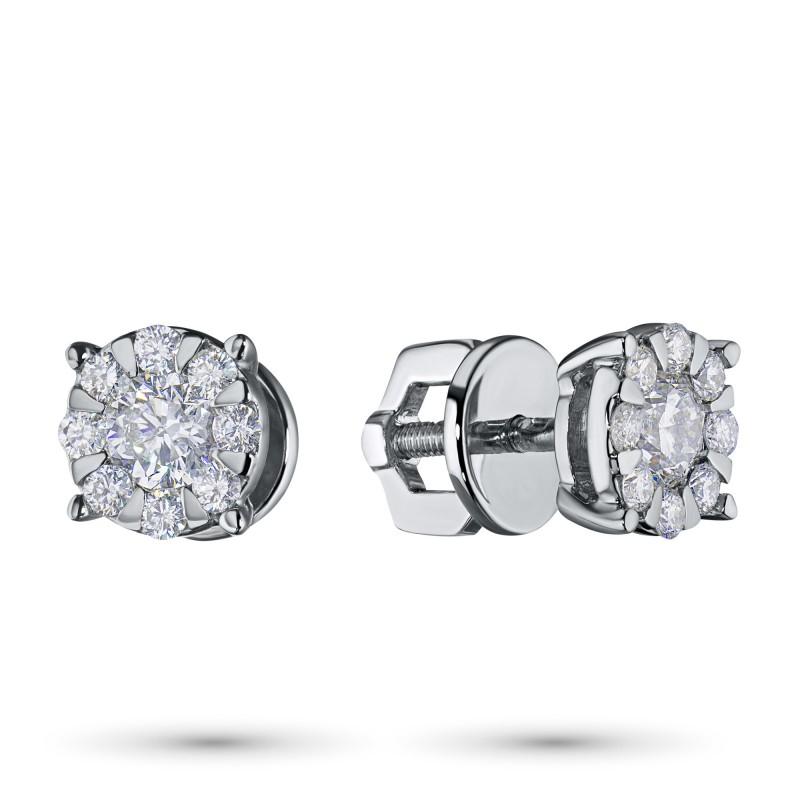 Пусеты из белого золота с бриллиантами э0901пс08188300