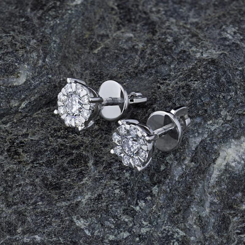 Пусеты из белого золота с бриллиантами э0901пс08188300 (фото 4)