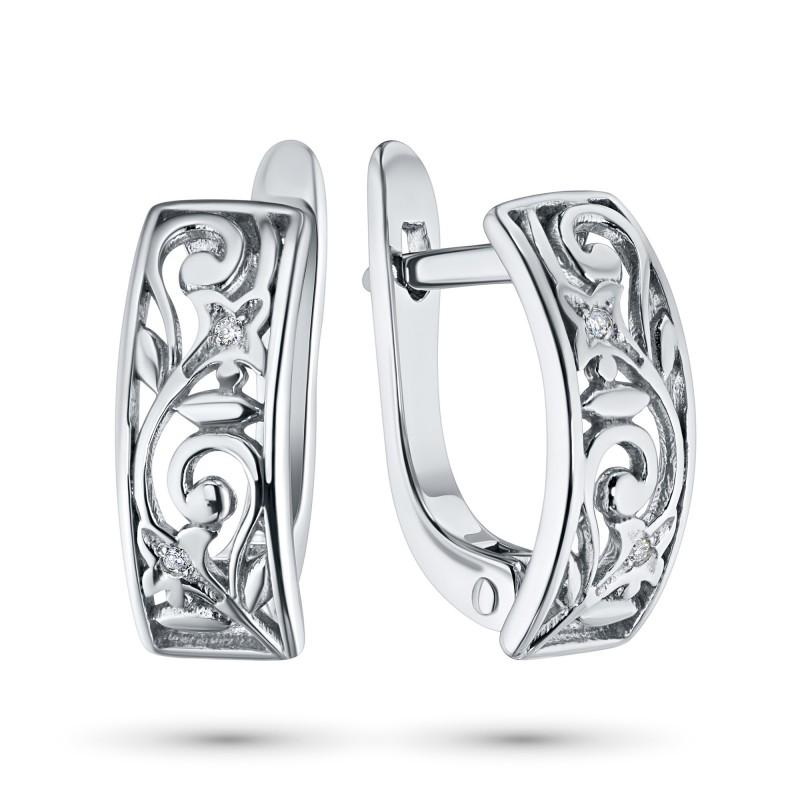 Серьги из серебра с бриллиантом э0601сг09152600