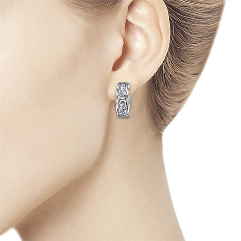 Серьги из серебра с бриллиантом э0601сг09152600 (фото 4)