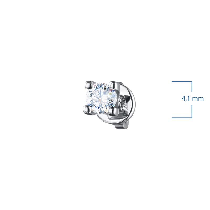 Пусеты из белого золота с бриллиантом э0901пс06200852 (фото 3)