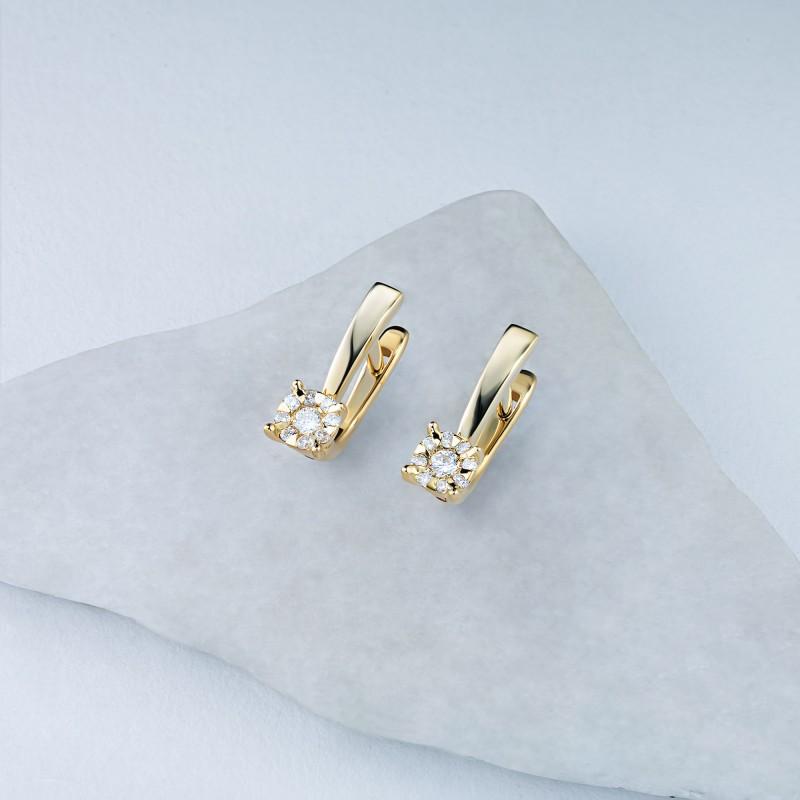 Серьги из желтого золота с бриллиантами э0301сг07176900 (фото 4)