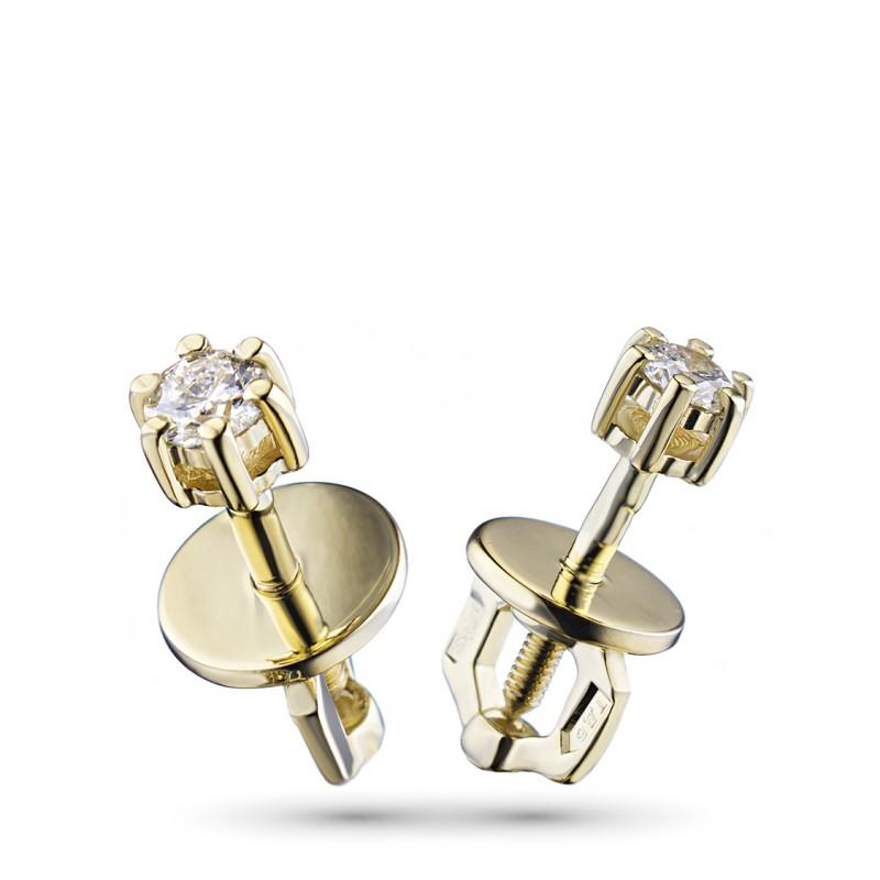 Пусеты из желтого золота с бриллиантами э0301пс01163300