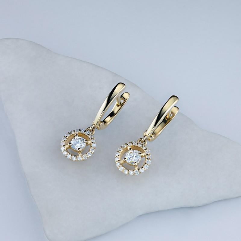 Серьги из желтого золота с бриллиантами э0301сг04210018 (фото 4)